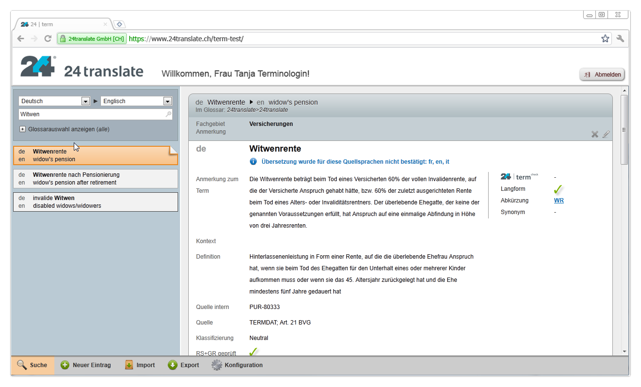 Terminology management via our innovative terminology database